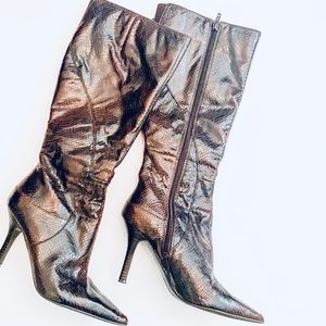 Nine West Faux Snakeskin Knee High Boots